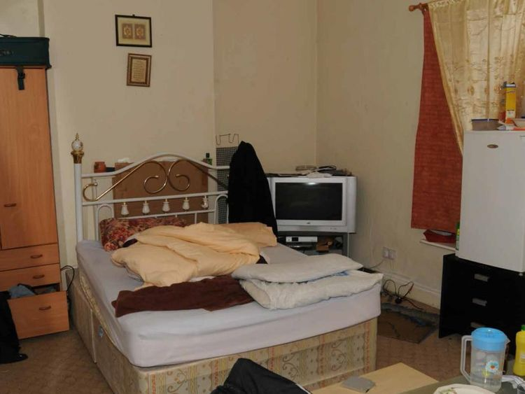 The bedroom where officers found chemicals in his drawer Pic: NECTU