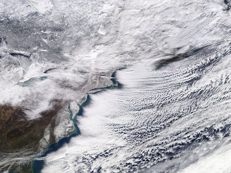 A winter storm sweeping across Ontario, eastern Canada and the northeastern United States is pictured in a NASA handout satellite photo January 6, 2018. NASA/Handout via REUTERS