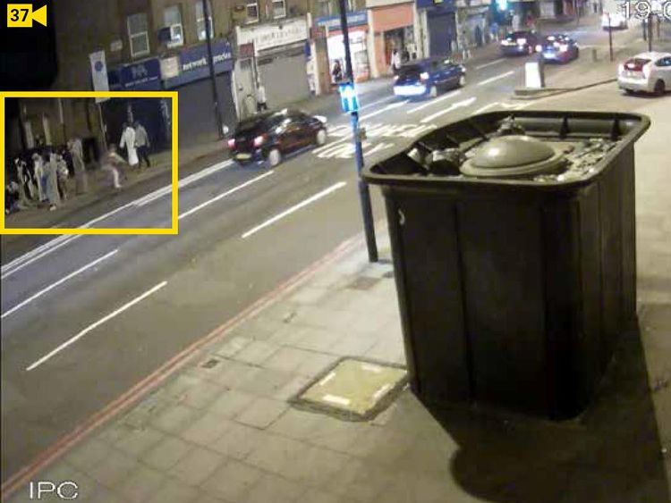 Moments before the van hit the crowd gathered around Mr Ali on Seven Sisters Road. Pic. Met Police