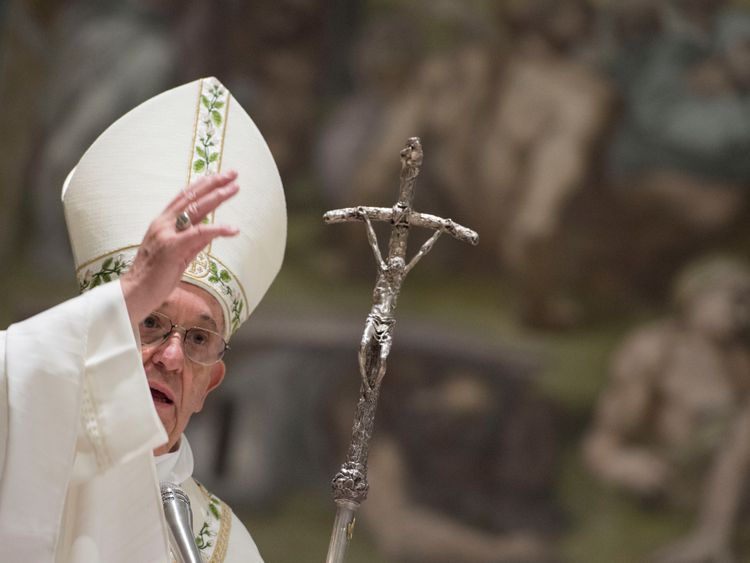 Pope leads baptism ceremony for babies in Sistine Chapel
