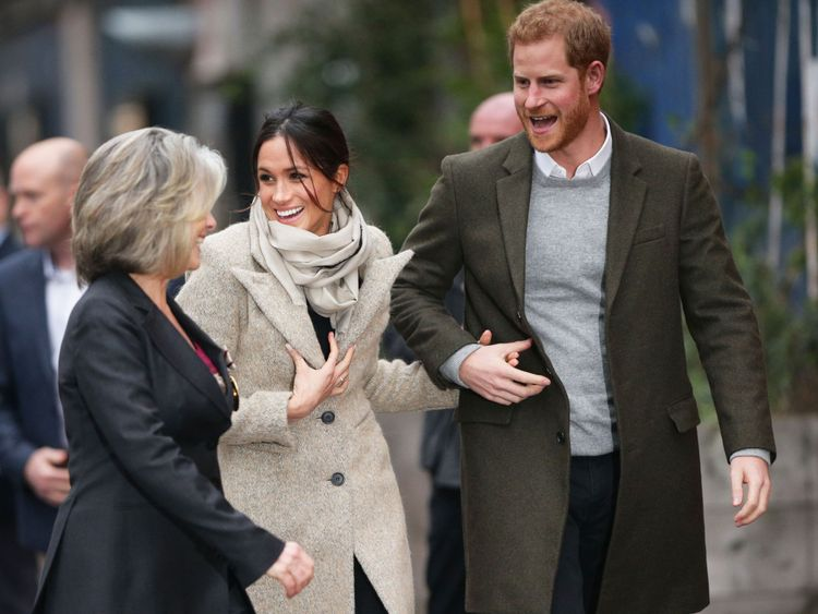 Prince Harry and Meghan Markle arriving for a visit to youth-orientated radio station, Reprezent FM, in Brixton