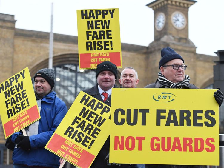 Campaigners protest against rail fare increases outside King's Cross station in London. PRESS ASSOCIATION Photo. Picture date: Tuesday January 2, 2018. See PA story RAIL Fares. Photo credit should read: Stefan Rousseau/PA Wire