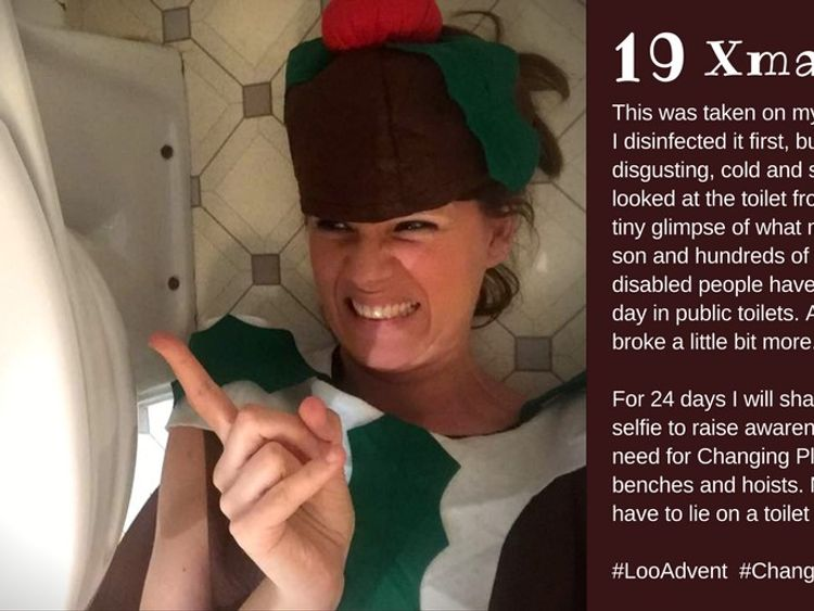 Sarah posted this from her own toilet floor as part of her #LooAdvent series