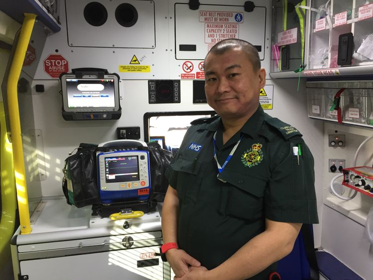 Simon inside the ambulance ready for a shift answering calls across the West Midlands