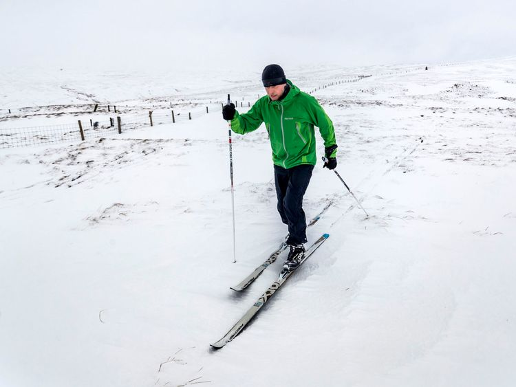 A skier enjoys the snow in the Yorkshire Dales