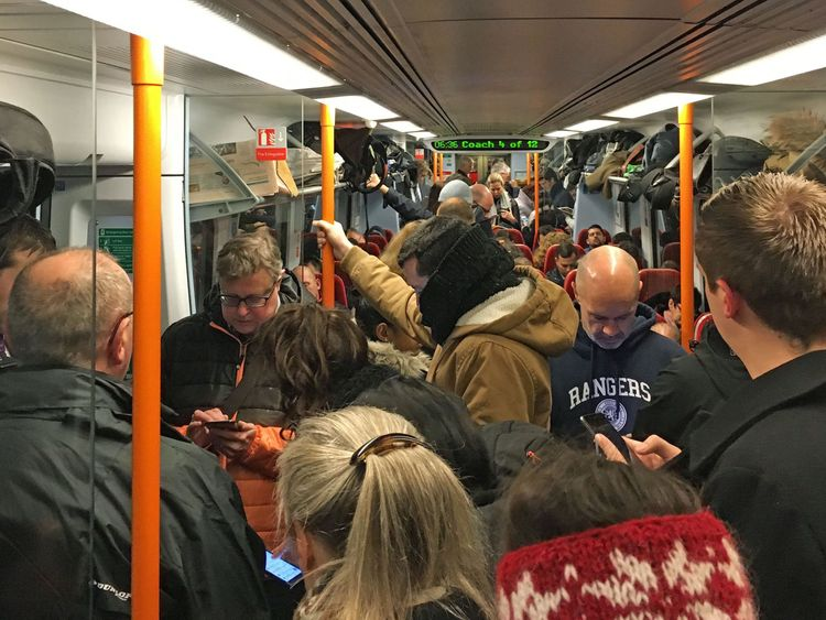 Commuters on a crowded South Western Railway train during Monday's strike