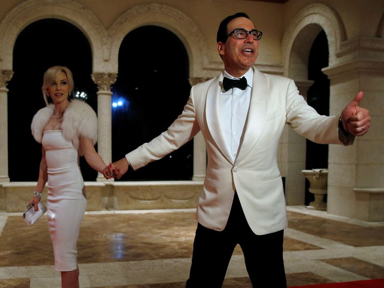 Treasury Secretary Steven Mnuchin and his wife Louise Linton arrive for the party