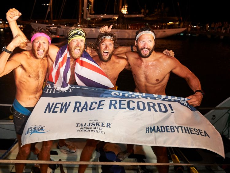 Stuart Watts (third from l) is one quarter of The Four Oarsmen. Pic: Talisker Whisky Atlantic Challenge/Ben Duffy