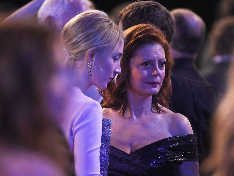 LOS ANGELES, CA - JANUARY 21: Actors Saoirse Ronan (L) and Susan Sarandon (R) during the 24th Annual Screen Actors Guild Awards at The Shrine Auditorium on January 21, 2018 in Los Angeles, California. (Photo by Kevork Djansezian/Getty Images)