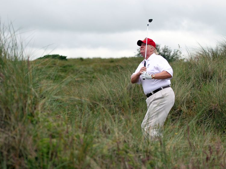 Mr Trump playing at his course in Balmedie, Scotland in July 2012