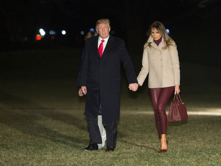 Donald Trump And First Lady Melania return to the White House after the holidays