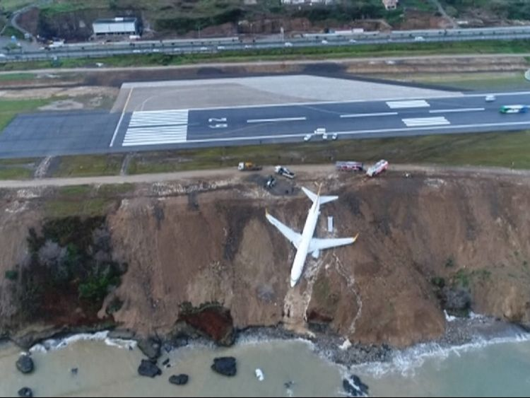 Plane skids off runway in northern Turkey; stuck in mud