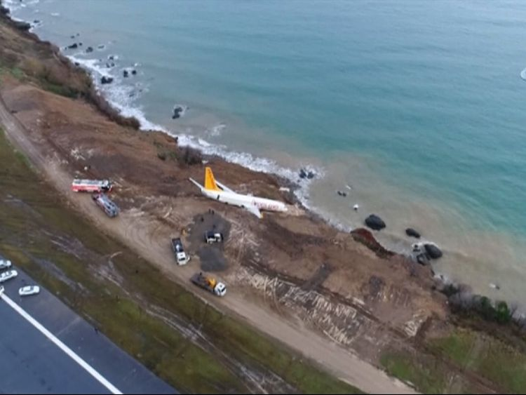 Passenger jet slides off track at Trabzon global  airport