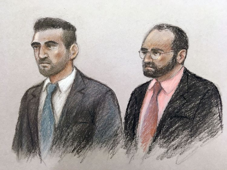 Court sketch of Vincent Tappu (left) and Mujahid Arshid in the dock of the Old Bailey