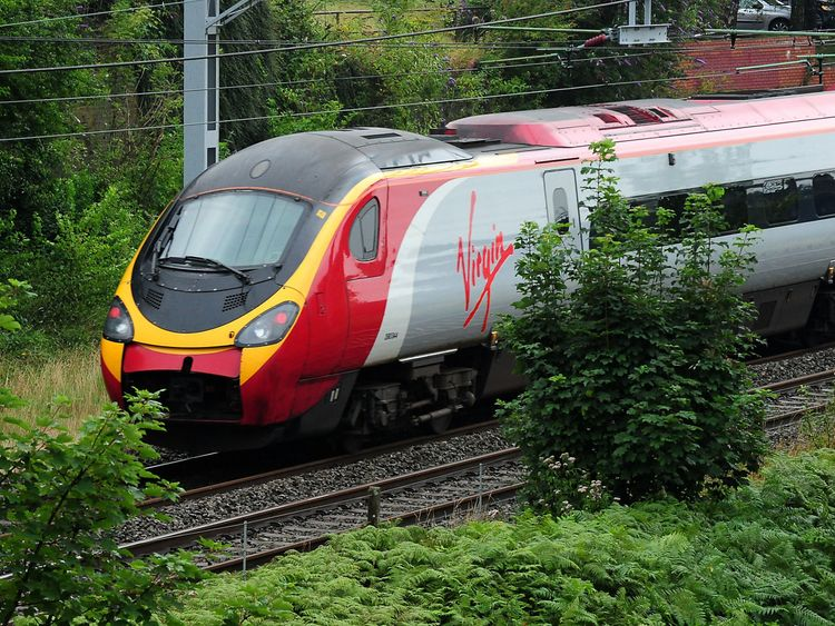 A Virgin trains on the West Coast Mainline