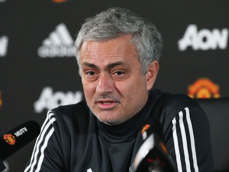 Jose Mourinho speaks during a press conference at Manchester United's Aon Training Complex