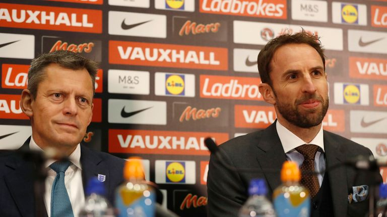 Martin Glenn, left, said Gareth Southgate's successor would be appointed using the Rooney Rule