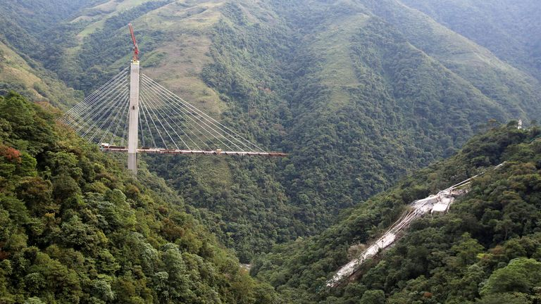 View of a bridge under construction that collapsed leaving dead and injured workers in Chirajara near Bogota, Colombia