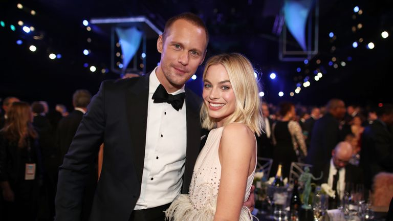 LOS ANGELES, CA - JANUARY 21: Actors Alexander Skarsgard (L) and Margot Robbie attend the 24th Annual Screen Actors Guild Awards at The Shrine Auditorium on January 21, 2018 in Los Angeles, California. 27522_010 (Photo by Christopher Polk/Getty Images for Turner Image)