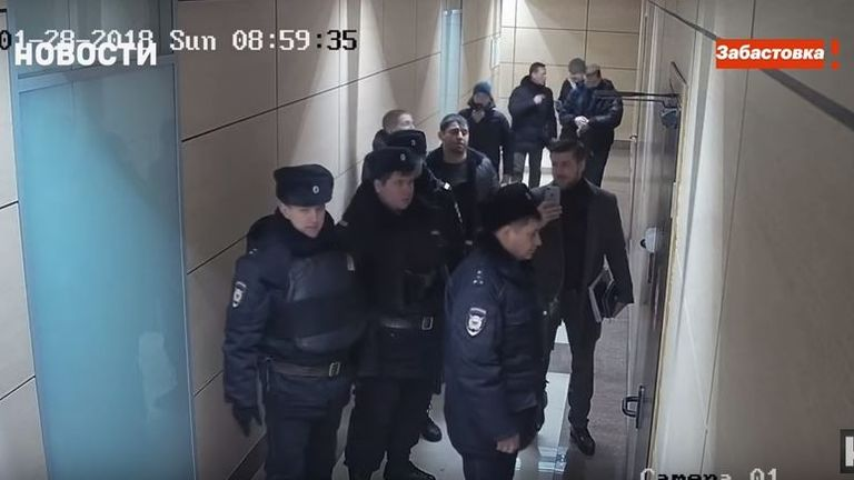 Navalny's YouTube channel showed footage of police appearing to try and interrupt a broadcast