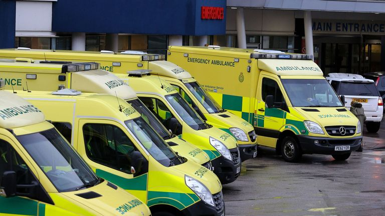 Ambulances outside the Royal Liverpool Hospital