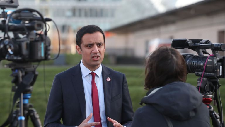 Anas Sarwar speaks to the media outside Glasgow Science Centre
