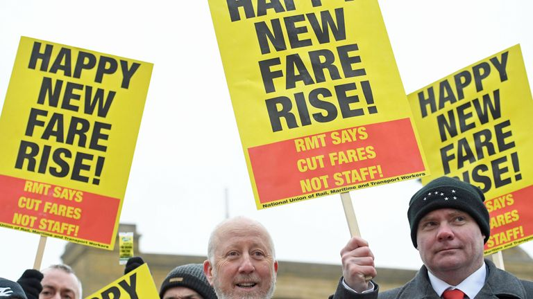 Shadow Transport Secretary Andy McDonald (centre) joins campaigners protesting against rail fare increases outside King's Cross station in London. PRESS ASSOCIATION Photo. Picture date: Tuesday January 2, 2018. See PA story RAIL Fares. Photo credit should read: Stefan Rousseau/PA Wire