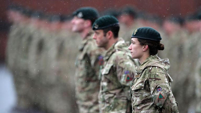 Members of 4th Battalion The Rifles line up for inspection at Normandy Barracks, Aldershot