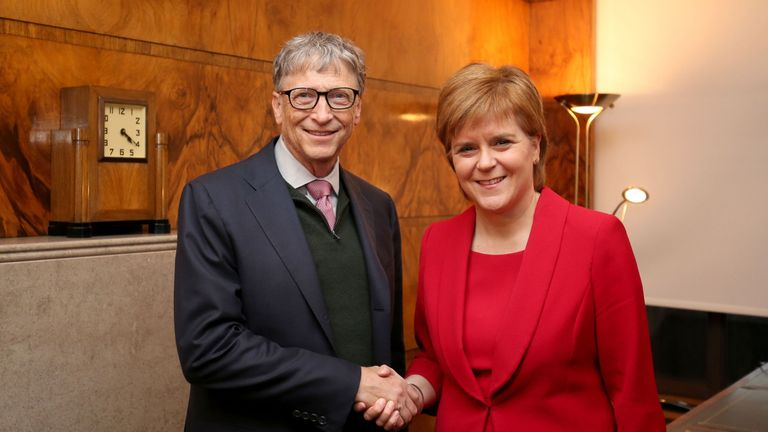 Scottish First Minister Nicola Sturgeon greeted Mr Gates at the university