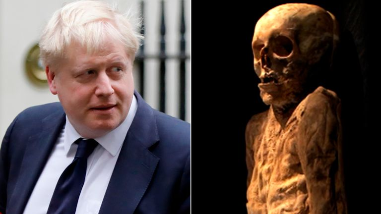 Boris Johnson and the mummy. Pic: SRF