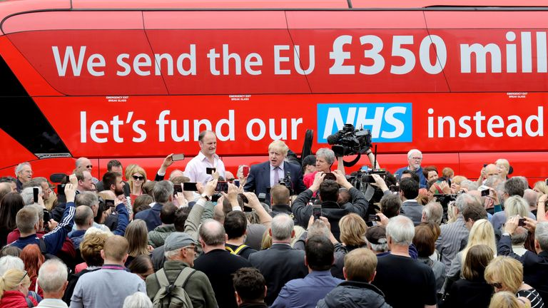 Boris Johnson campaigns in front of the Vote Leave bus