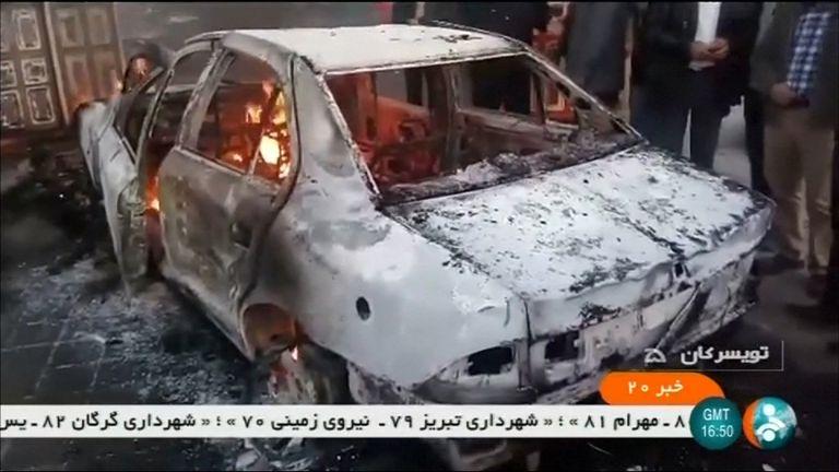 Burning car in Tuyserkan