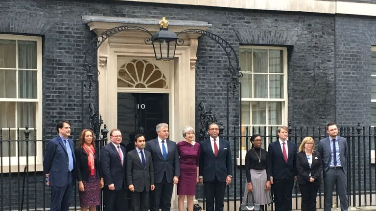 Vice Chairs, Chair and Deputy Chair of Conservative Party outside Downing street in the reshuffle