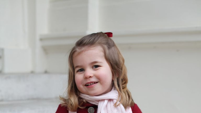 Princess Charlotte pictured on her first day at school.