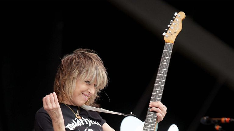 Chrissie Hynde of The Pretenders performing on the Other Stage, at the Glastonbury Festival