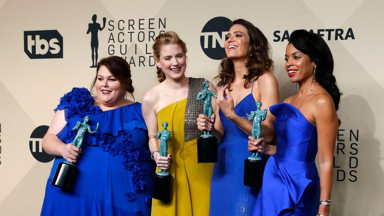 "Chrissy Metz, Alexandra Breckenridge, Mandy Moore and Susan Kelechi Watson with their award for Outstanding Performance by an Ensemble in a Drama Series for ""This Is Us"""