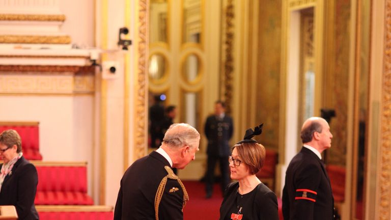 Claire Kober from London is made an OBE (Officer of the Order of the British Empire) by the Prince of Wales at Buckingham Palace.  PRESS ASSOCIATION Photo. Picture date: Friday January 29, 2016. Photo credit should read: Anthony Devlin/PA Wire