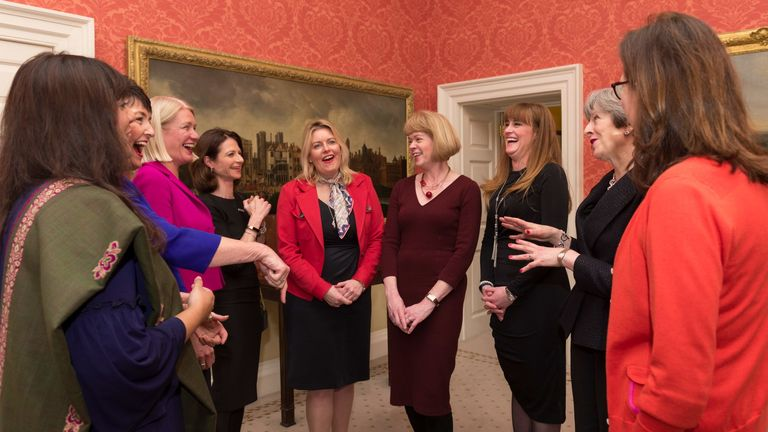 Theresa May meets newly-promoted whips in Downing Street