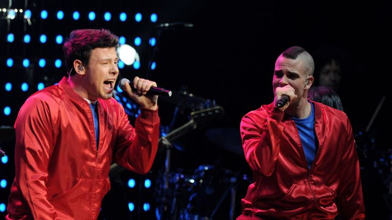 Cory Moneith (left) and Mark Salling performing together in 2010