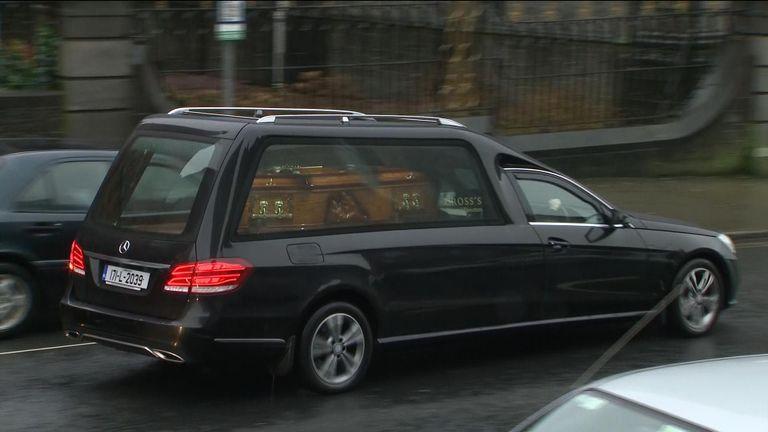 Dolores O'Riordan's casket arriving at the church