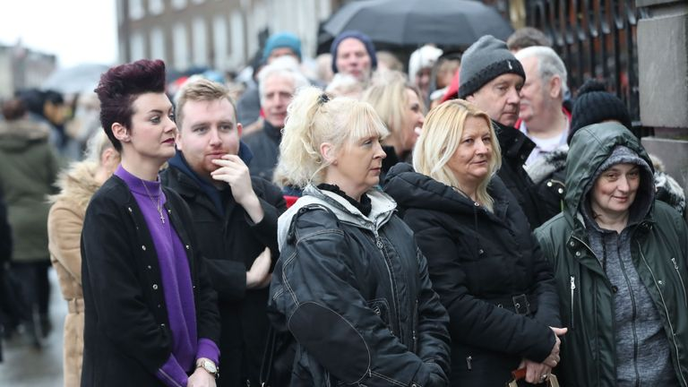 Fans outside the church in Limerick