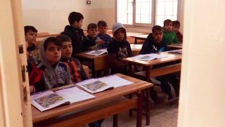 Schoolchildren in Turkish town