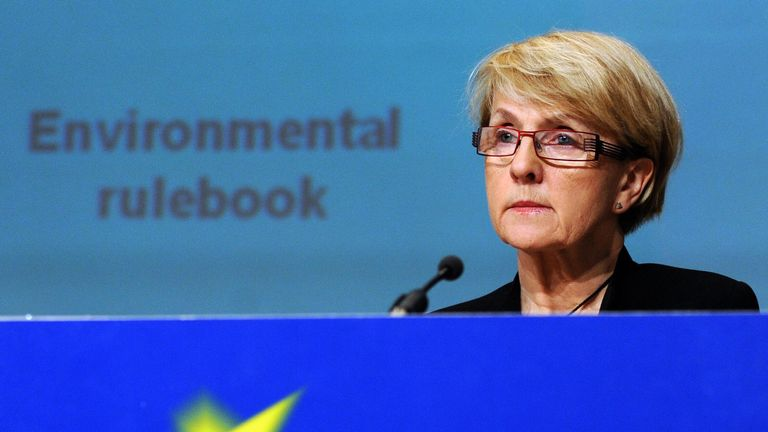 European Commissioner for Regional Policy Danuta Hubner holds a press conference on March 9, 2009, on Cohesion Policy and Environment at the European headquarters in Brussels. AFP PHOTO / DOMINIQUE FAGET (Photo credit should read DOMINIQUE FAGET/AFP/Getty Images)