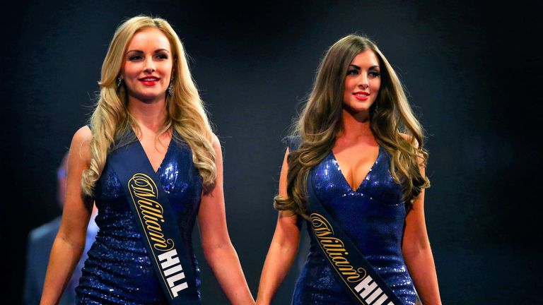 Walk-on girls at PDC World Darts Championships. File pic