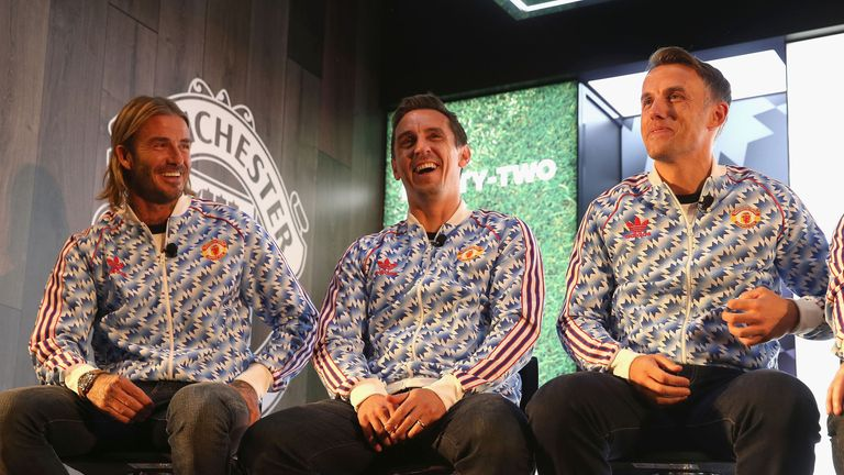 David Beckham, Gary Neville and Phil Neville at the launch of the Adidas '92' trainer at Old Trafford last year
