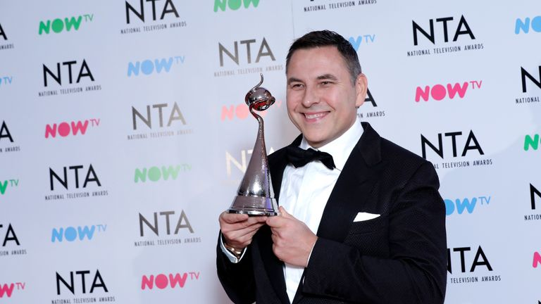 David Walliams with his award for TV Judge in 'Britain's Got Talent'