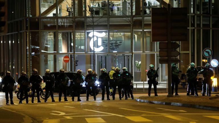 Policemen during an anti-U.S. President Donald Trump demonstration in Zurich