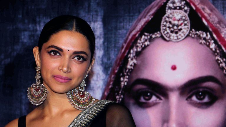 Indian Bollywood actress Deepika Padukone poses for a photograph during a promotional event for the forthcoming Hindi film 'Padmavati' directed by Sanjay Leela Bhansali in Mumbai on late October 31, 2017./ AFP PHOTO / STR (Photo credit should read STR/AFP/Getty Images)
