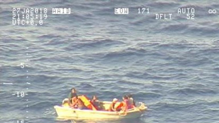 Seven people in a dinghy were found by the NZ Defence Force after a ferry capsized near Kiribati. Pic: NZ Defence Force