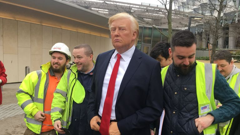 A waxwork figure of Donald Trump was paraded by Madame Tussauds outside the new US embassy in Nine Elms, south London